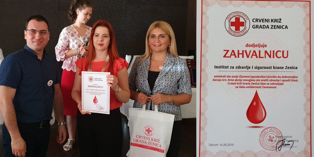 INZ-u Zahvalnica CK Zenica Zbog Učešća U Akcijama Darivanja Krvi